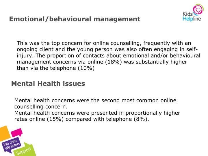 Emotional/behavioural management