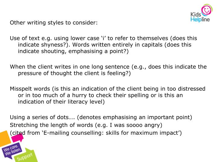 Other writing styles to consider: