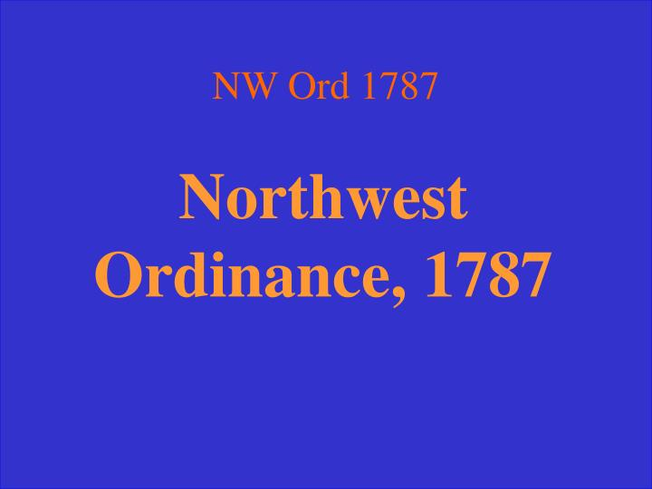 NW Ord 1787