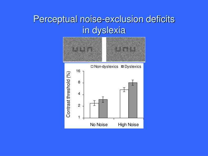 Perceptual noise-exclusion deficits