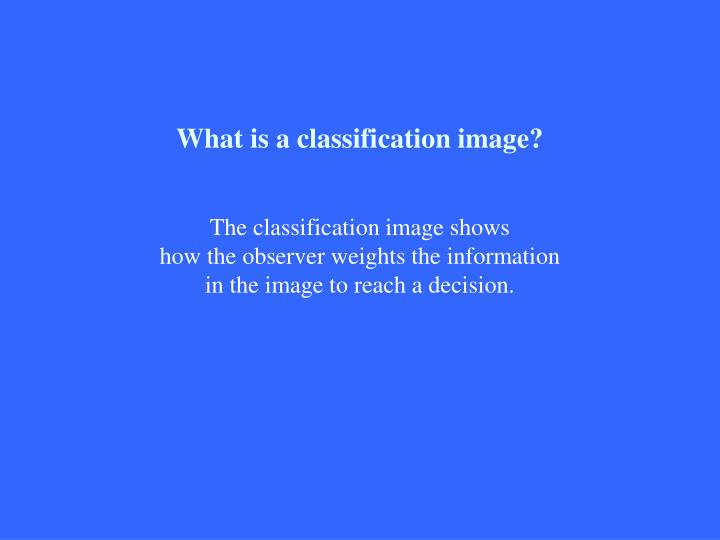 What is a classification image?