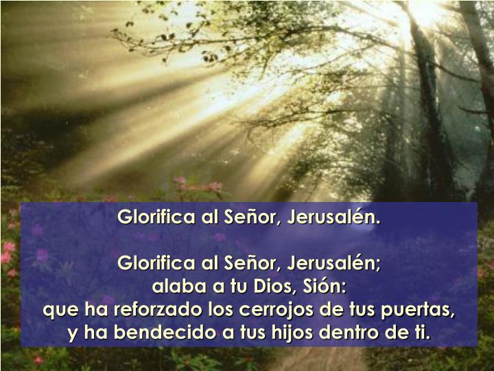 Glorifica al Señor, Jerusalén.