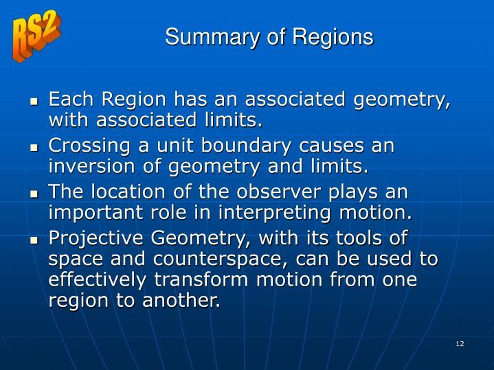 Summary of Regions