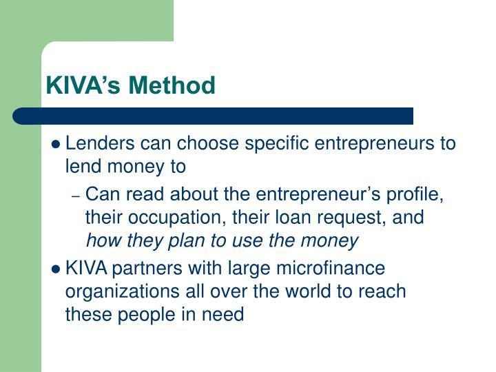 KIVA's Method