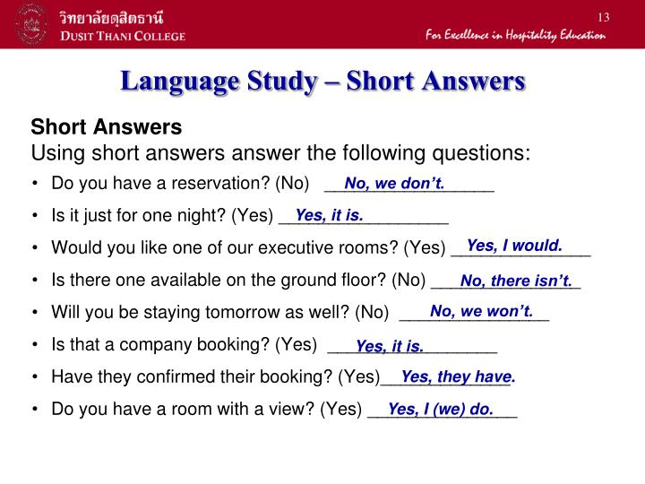 Language Study – Short Answers