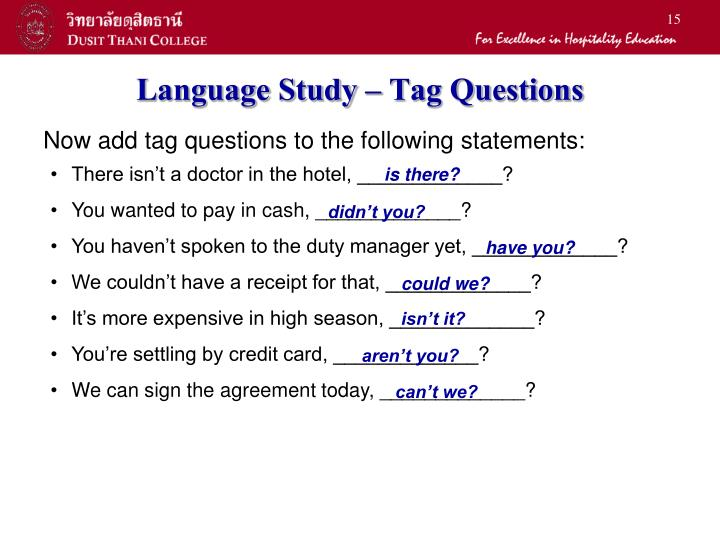 Language Study – Tag Questions