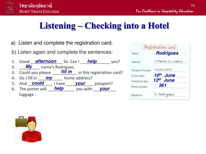 Listening – Checking into a Hotel