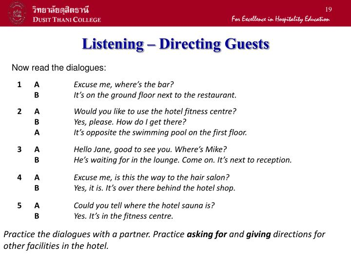 Listening – Directing Guests