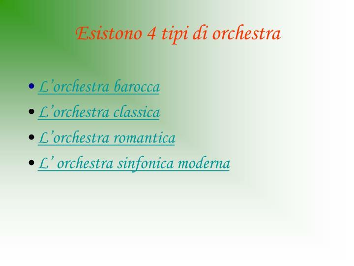 Esistono 4 tipi di orchestra