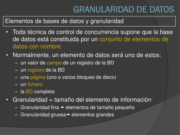 GRANULARIDAD DE DATOS