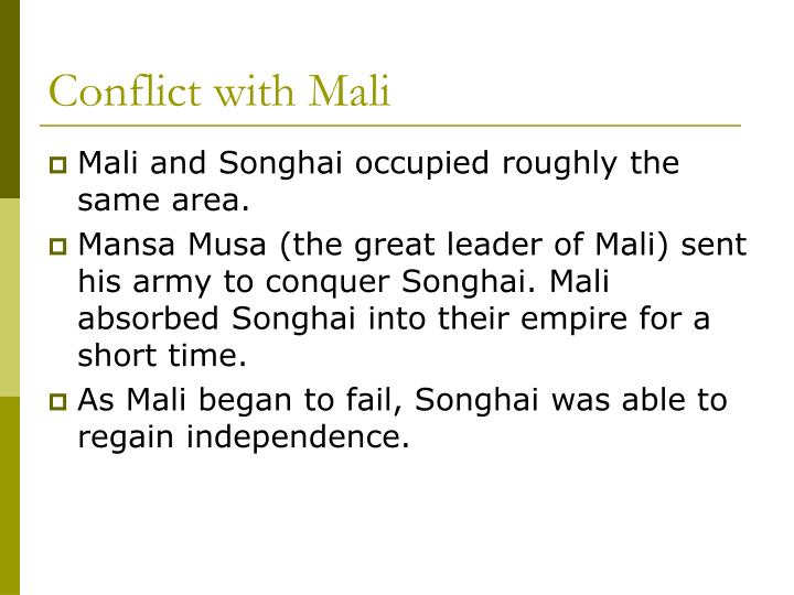 Conflict with Mali
