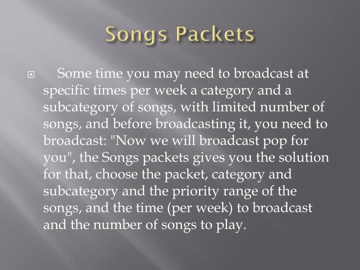 Songs Packets