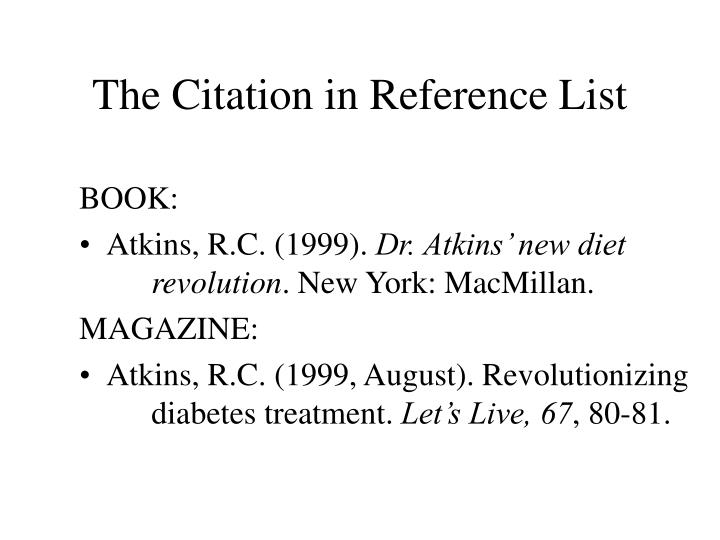 The citation in reference list