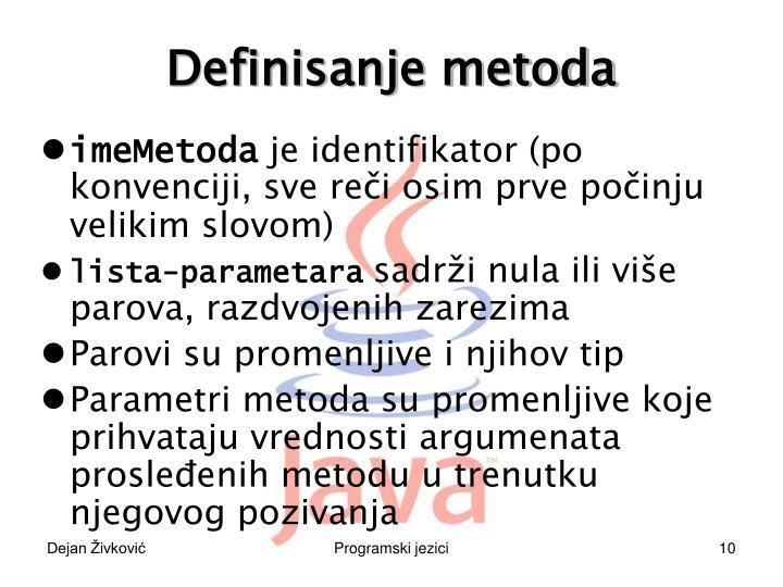 Definisanje metoda