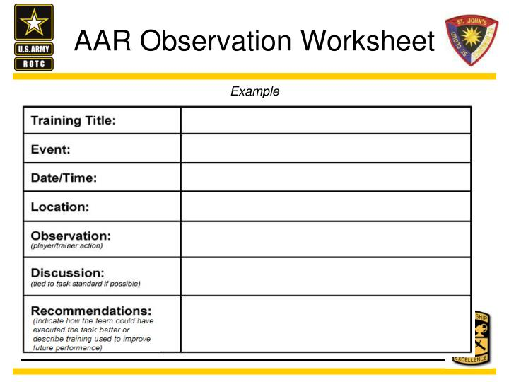 AAR Observation Worksheet