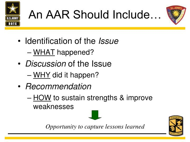 An AAR Should Include…