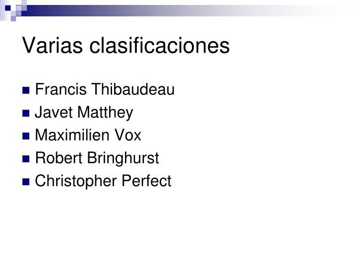 Varias clasificaciones