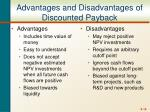 advantages and disadvantages of discounted payback