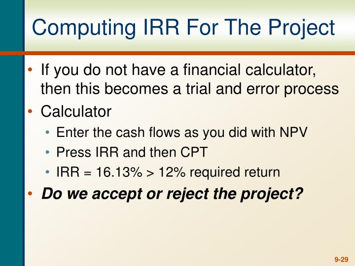 Computing IRR For The Project