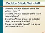decision criteria test aar