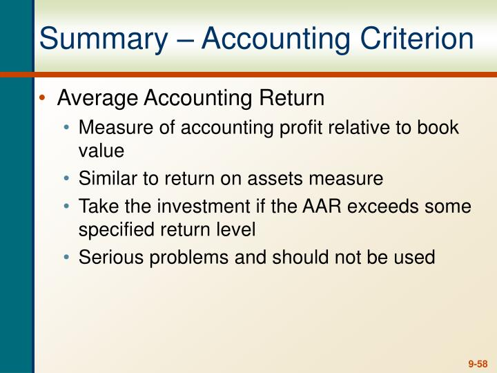 Summary – Accounting Criterion