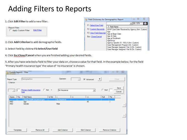 Adding Filters to Reports