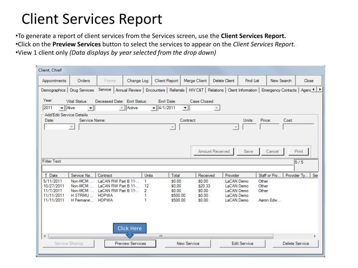 Client Services Report