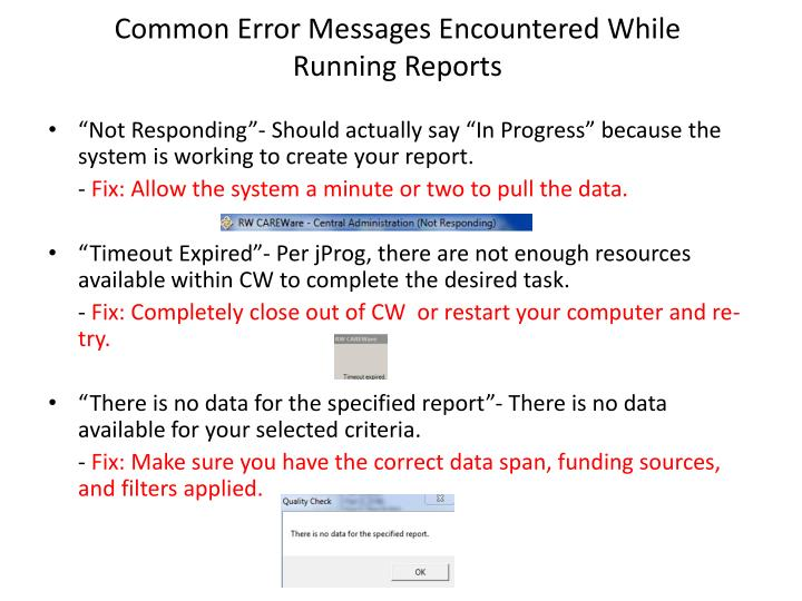 Common Error Messages Encountered While