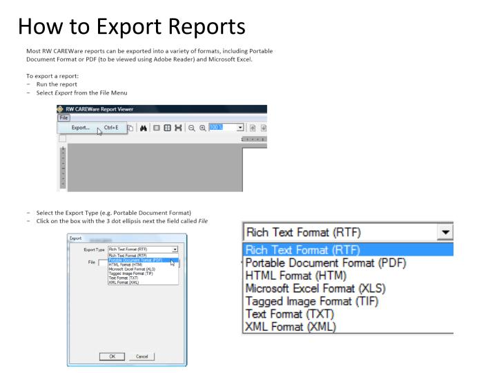 How to Export Reports
