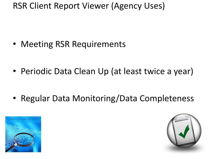 RSR Client Report Viewer (Agency Uses)