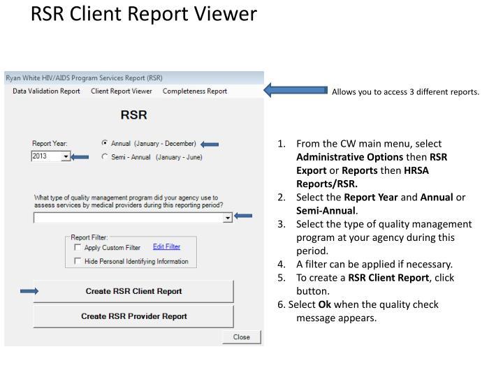 RSR Client Report Viewer