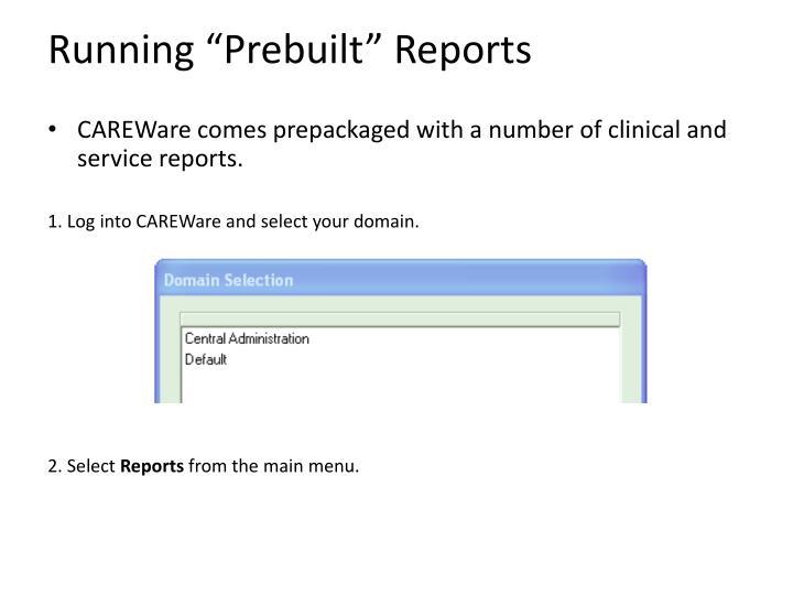 "Running ""Prebuilt"" Reports"