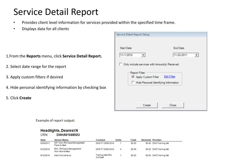 Service Detail Report
