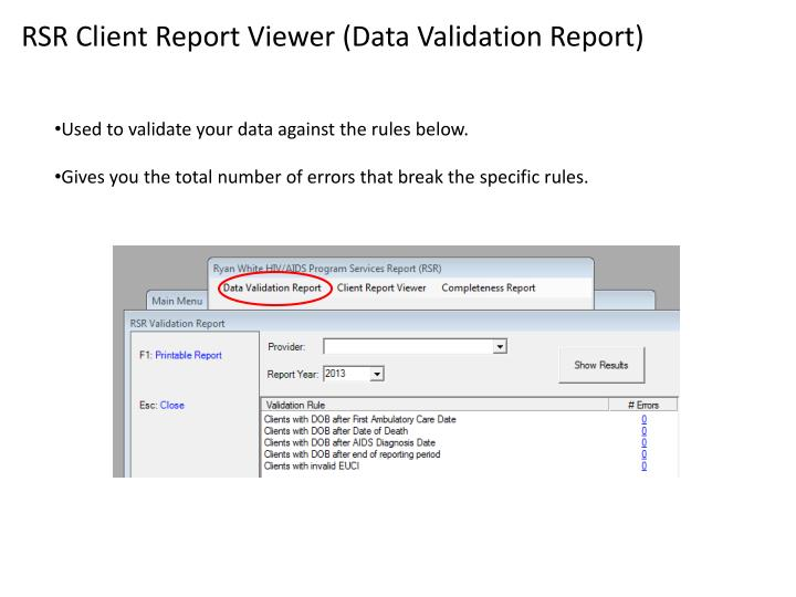 RSR Client Report Viewer (Data Validation Report)