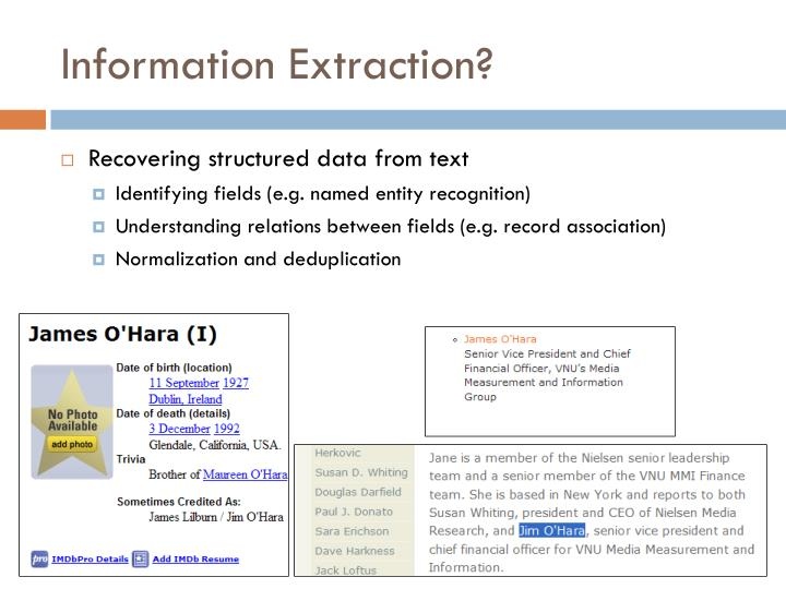 Information Extraction?