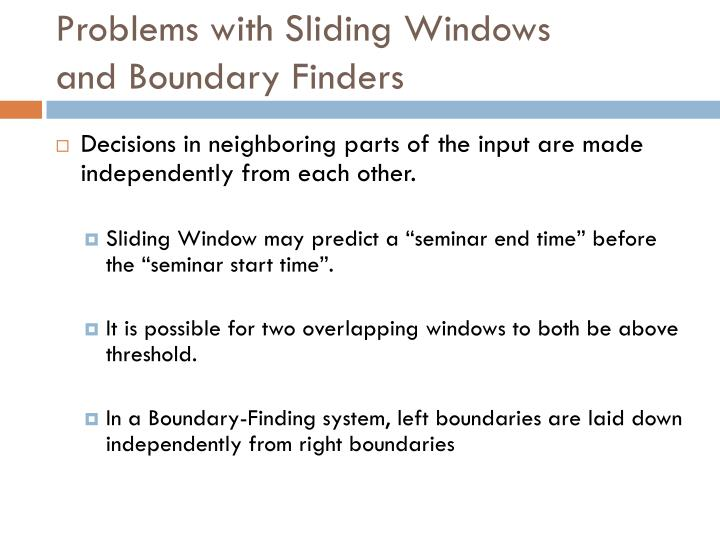 Problems with Sliding Windows