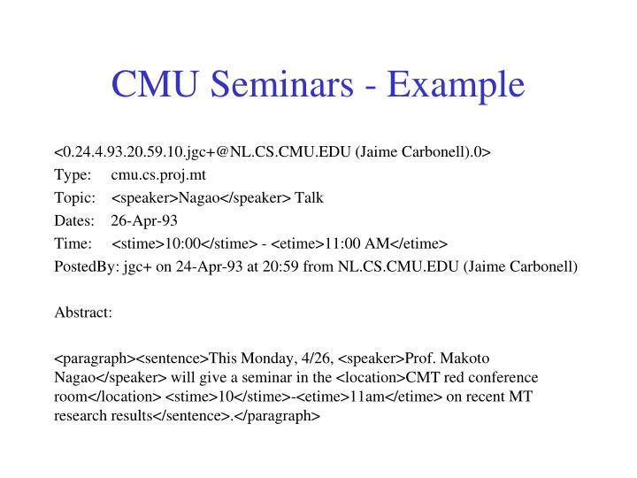 CMU Seminars - Example