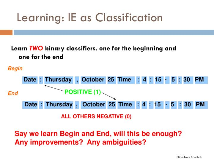 Learning: IE as Classification