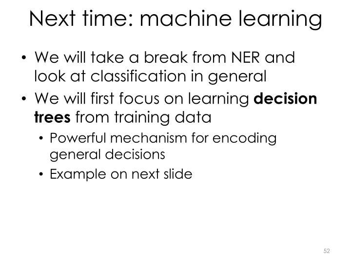 Next time: machine learning