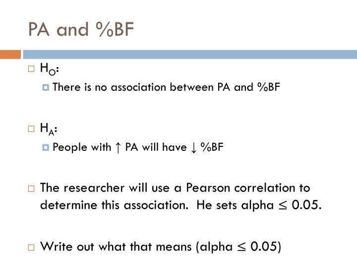 PA and %BF