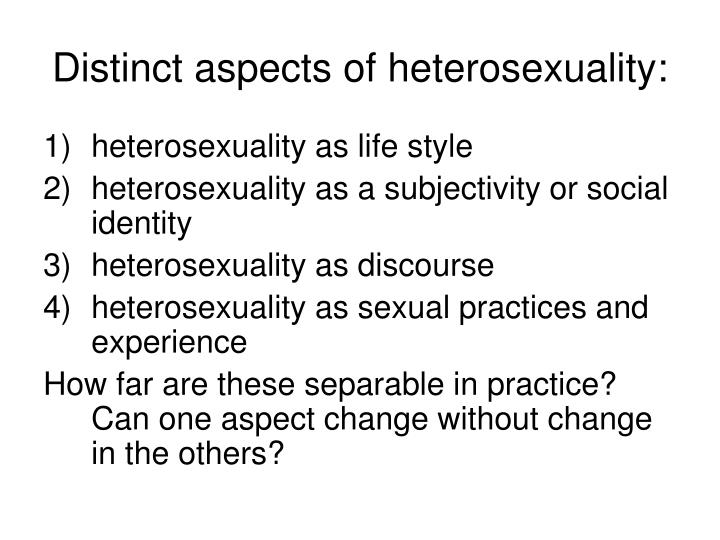 Distinct aspects of heterosexuality:
