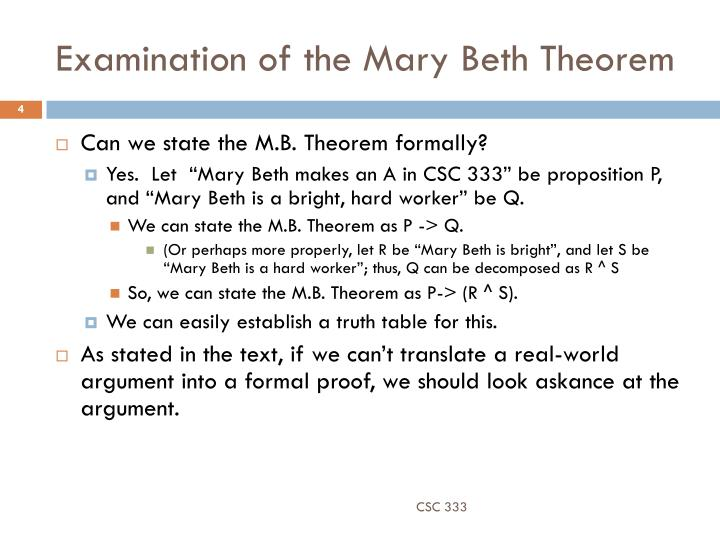 Examination of the Mary Beth Theorem