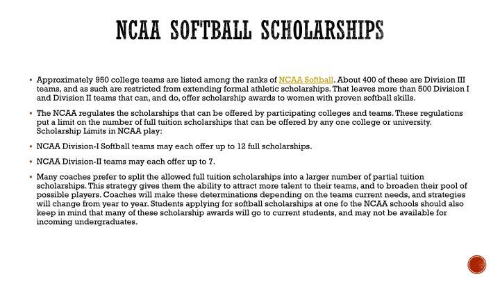 NCAA Softball scholarships