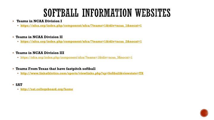 SOFTBALL Information websites