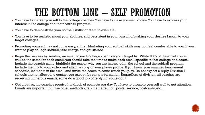The bottom line – Self promotion
