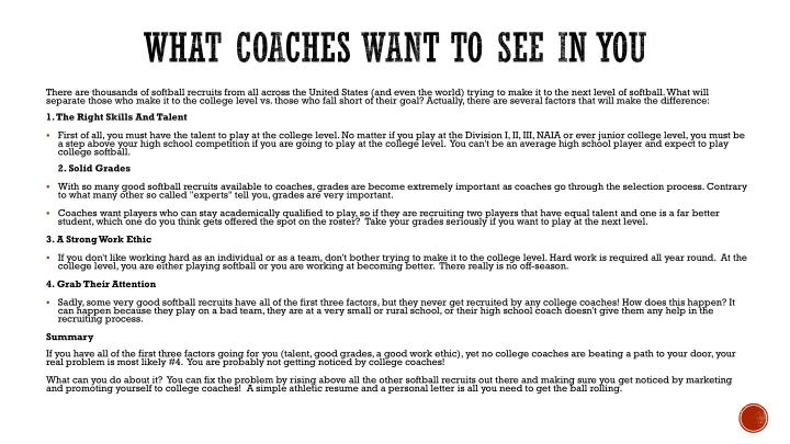 What Coaches want to see in you
