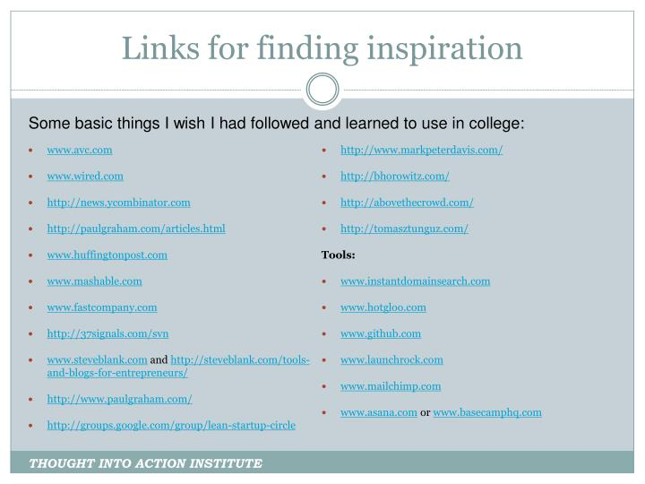 Links for finding inspiration