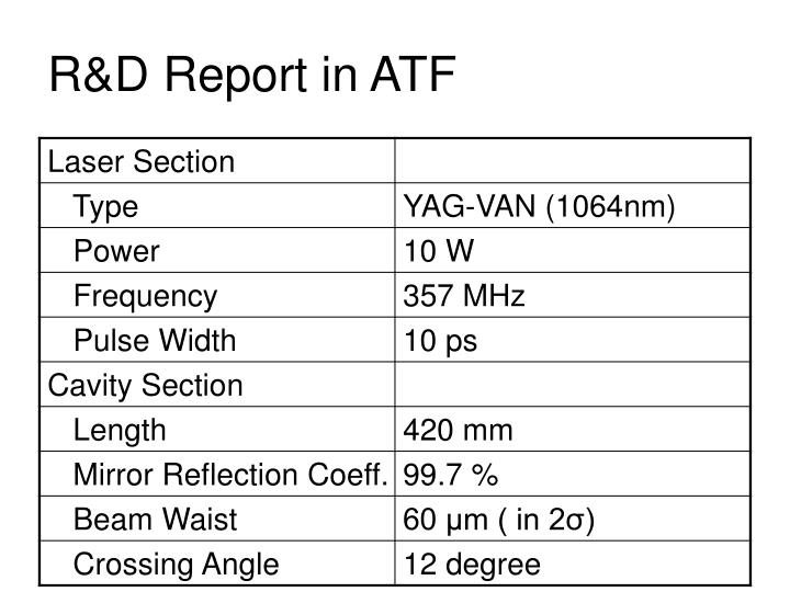 R&D Report in ATF
