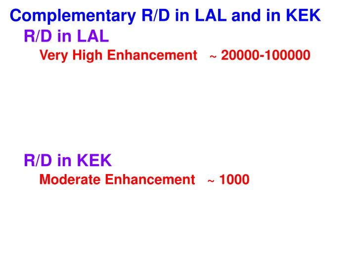 Complementary R/D in LAL and in KEK
