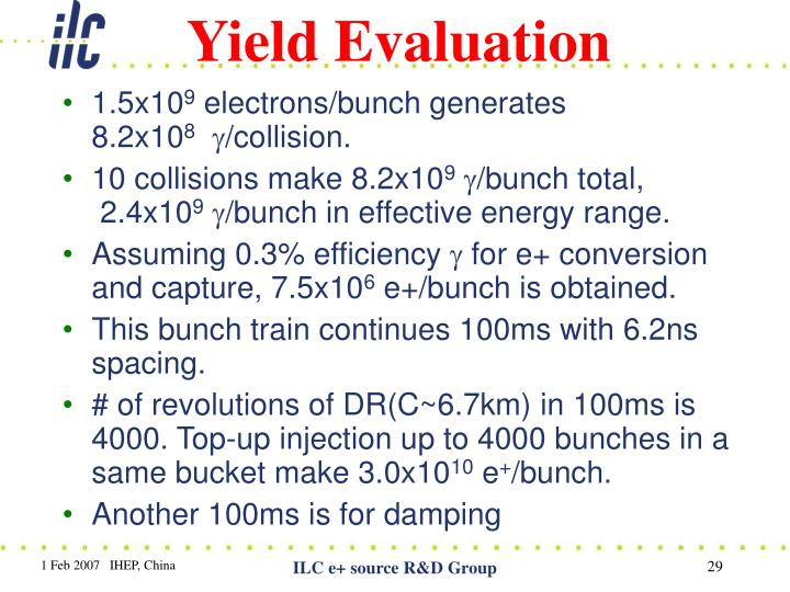 Yield Evaluation